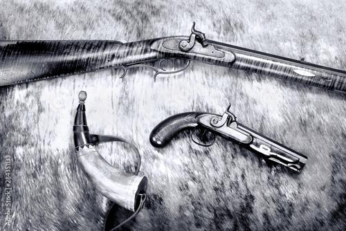 Fotografie, Obraz  Antique Percussion cap and ball Guns.
