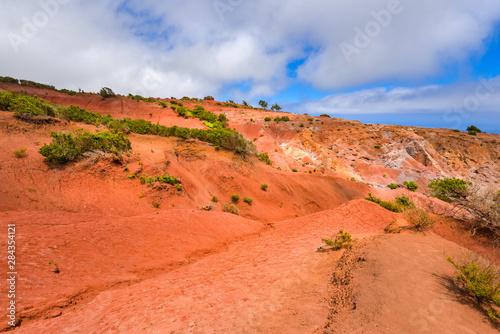 Foto op Canvas Baksteen Landschaft mit rotem Sand im Norden von La Gomera / Kanaren
