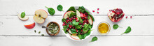 Spinach, Apple Salad With Pomegranate Seeds