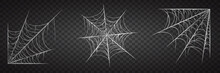 Spiderweb Set, Isolated On Black Transparent Background. Cobweb For Halloween, Spooky, Scary, Horror Decor With Spiders.