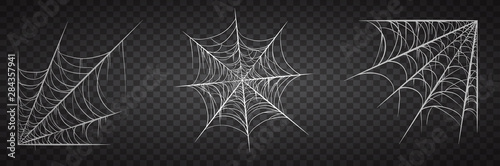 Photo Spiderweb set, isolated on black transparent background