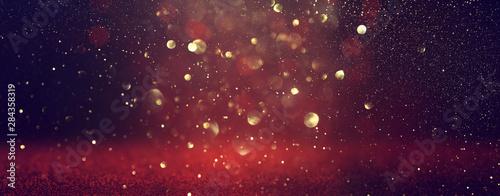 Obraz na plátně background of abstract Red glitter lights . defocused. banner