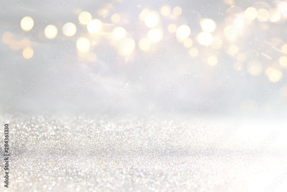 Fototapety, obrazy: blackground of abstract glitter lights. silver and gold. de-focused