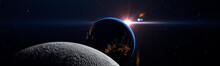 Luna Eclipse In Space Concept ...