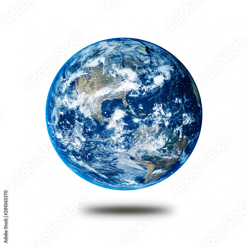 Earth planet concept hovering on a white background showing America
