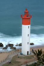 Africa, South Africa, KwaZulu Natal, Durban, Umhlanga Rocks, Beach And Lighthouse