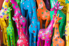 Colorful Wooden Giraffes, Mant...