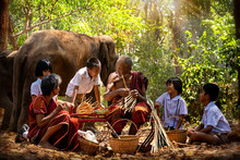 Senior Men And Women Are Weaves Basket With Nephew And Granddaughter And A Big Elephant In The Forest. Old Man And Woman Weaves Bamboo Basket Or Fish Trap With Elephant In Forest. Surin, Thailand.