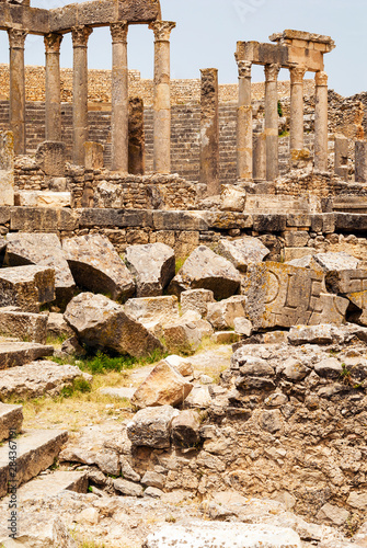 Photo The Theatre, Roman ruins, Dougga Archaeological Site, UNESCO World Heritage Site