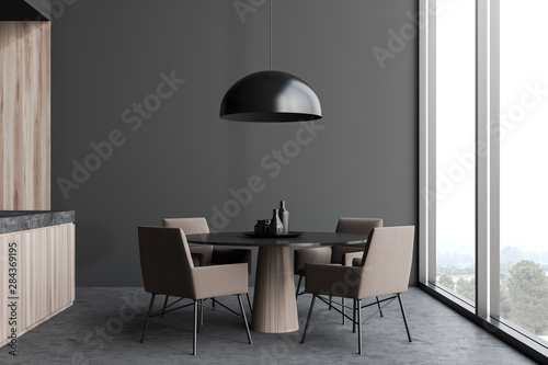 Fotografie, Obraz  Gray dining room with round table