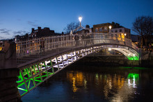 Ha'Penny Bridge At Night In Du...