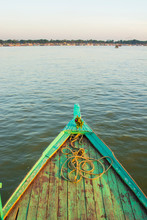 Myanmar. Mandalay. Irrawaddy River. Houseboat On The River.