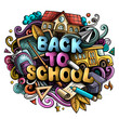 Cartoon cute doodles Back to School phrase. Colorful illustration