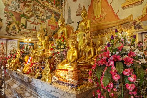 Bot and gilded altar of Luang Pho To Wat Intharawihan, Bangkok, Thailand Wallpaper Mural