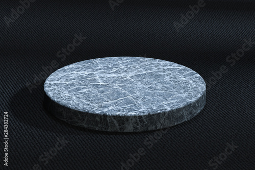 The marble cylinder platform in the dark room, 3d rendering Fototapet