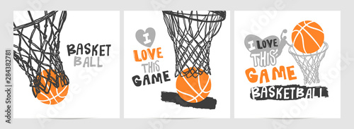 Fototapeta Collection of hand-drawing basketball designs on a white background, grunge style, sketch, lettering, hoop