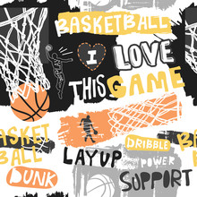 Bright Seamless Pattern For Basketball. Hand Drawing Sport Print, Background, Typography Slogan. Print Design For T-shirts, Clothes, Banners, Flyers. Sketch, Grunge Style.
