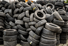 Used Tire Stacks In Workshop Vulcanization Yard