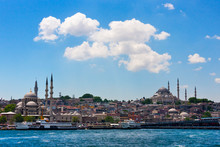 Yeni Cami (New Mosque) And Other Buildings Along The Waterfront. Golden Horn, Istanbul, Turkey.