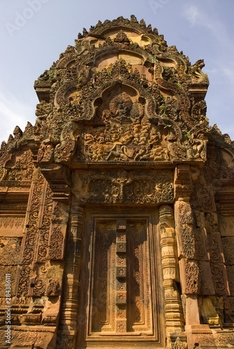 Cambodia. Siem Reap. Bantay Srei Temple. Esquisitely carved lintel and doorway.