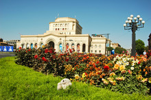 Armenia, Yerevan, Stuffed Toy Boris On The Grass With An Old White Building In The Background On Hanrapetutyan Hraparak (Republic Square)