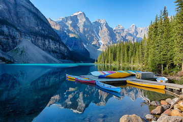 Canada, Banff National Park, Valley of the Ten Peaks, Moraine Lake, Canoe dock