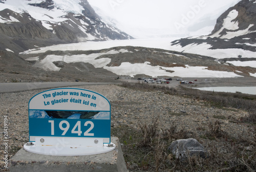 Photo  Canada: Alberta, Columbia Icefields, Athabasca Glacier, signs marking dates of f