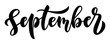 Simple black and white brush handlettering script September for posters, calendars and other