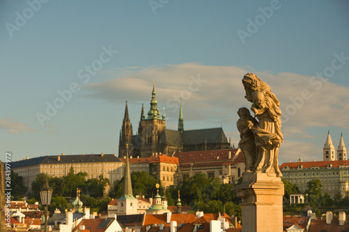 Fotobehang Historisch geb. View from Charles Bridge (Karluv most), founded in 1357 towards Prague Castle, Baroque Sculptures from the 18th Century, Historical Center of Prague-UNESCO World Heritage Site, Czech Republic