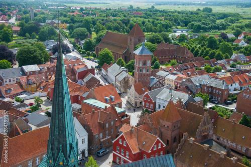 Fotografie, Obraz Overlook over Ribe, Denmark's oldest surviving city, Jutland, Denmark