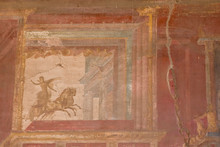 Italy, Campania, Pompeii. Fresco Details In The Macellum Or Covered Market.