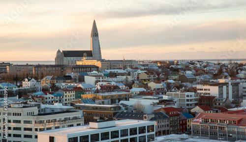 Foto op Aluminium Arctica Iceland, Reykjavik. Winter cityscape at sunset.