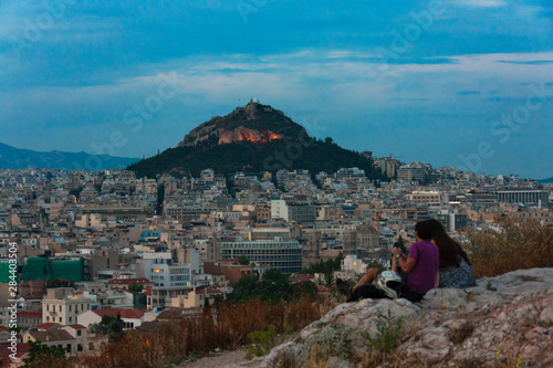 Tourists watching Lycabettus Hill, Athens, Greece Canvas Print