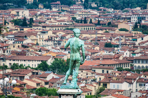 La pose en embrasure Commemoratif Statue of David overlooking Florence, Italy