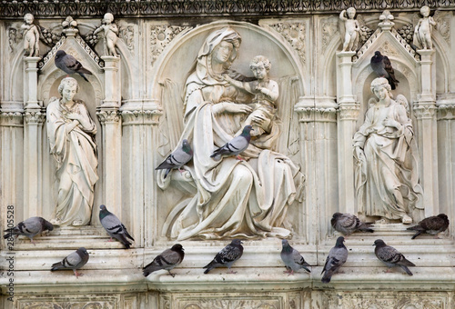 Foto op Plexiglas Historisch mon. Italy, Tuscany, Sienna. Statues and birds on the fountain in the Piazza del Campo.