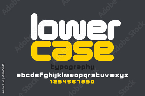 Lowercase style modern font design, alphabet letters and numbers Canvas Print