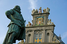 Netherlands (aka Holland), Hoorn. Rode Steen (red Stone) Named For The Town Gallows. Statue Of Jan Pieterszoon Coen.