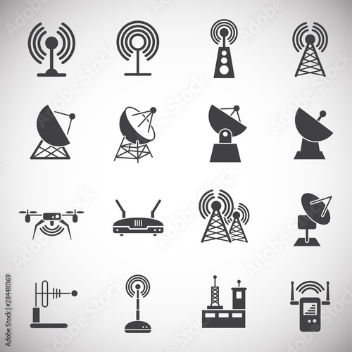 Fotografie, Tablou  Antennas related icons set on background for graphic and web design