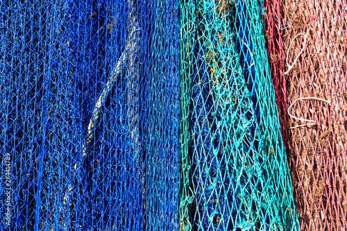 Spain, Balearic Islands, Mallorca, Santanyi, Cala Figuera. Small, colorful fishing harbor on southeast corner of island. nets.
