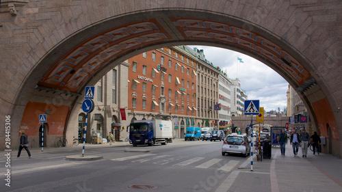 Foto auf AluDibond Stockholm Sweden, Stockholm, buildings and typical architecture along Kungsgatan.