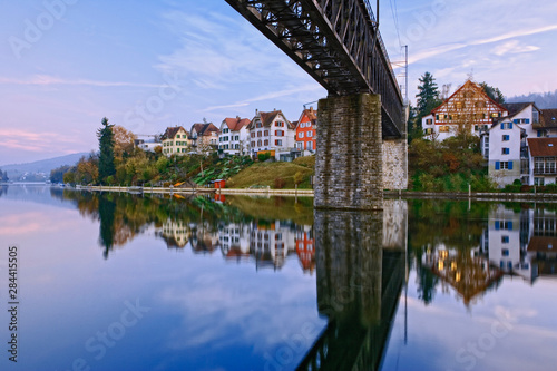 Railroad trestle over Rhine River at dusk, Schaffhausen, Switzerland Canvas-taulu