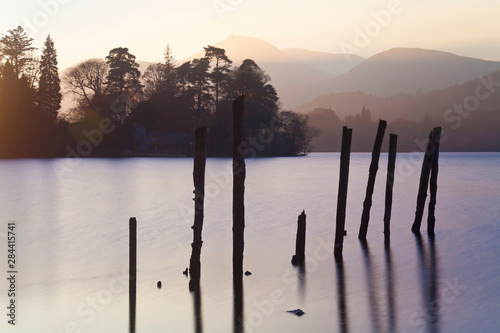 Canvas Print Sunset, Derwent Water, Lake District, Cumbria, UK