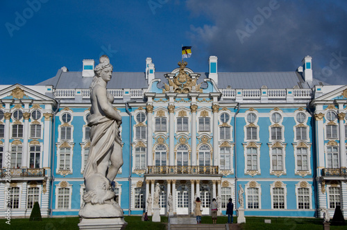 Foto op Aluminium Historisch mon. Russia, St. Petersburg, Catherine's Palace (aka Bolshoi Yekaterinsky Dvorets). Palace view from gardens.
