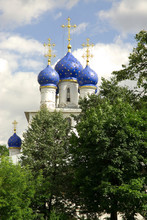 Russia. Moscow. Kolomenskoe Museum_Reserve. Our Lady Of Kazan Church. Blue Onion Domes.