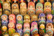 Russia. Moscow. Arbatskaya. Stary Arbat. Matryoshka Dolls.