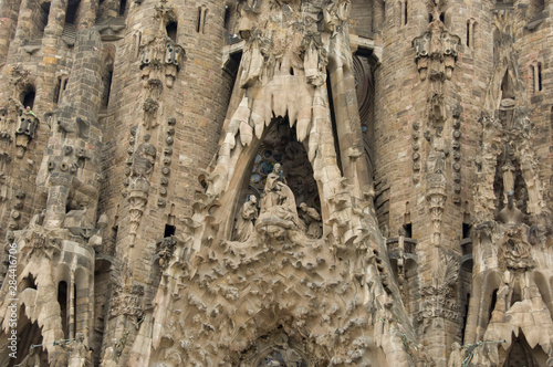 Foto auf AluDibond Historische denkmal Spain, Barcelona. Gaudi's La Sagrada Familia, Nativity Facade detail.
