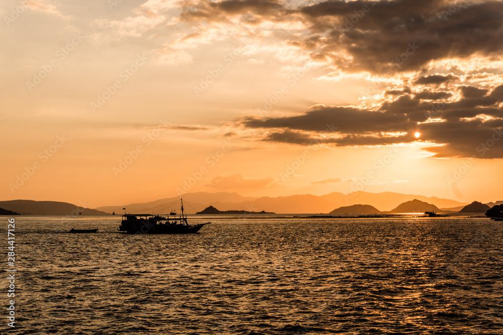 Sunset over Komodo archipelago