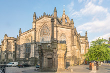 Great Britain, Scotland, Edinburgh. Market Square And St. Giles Cathedral