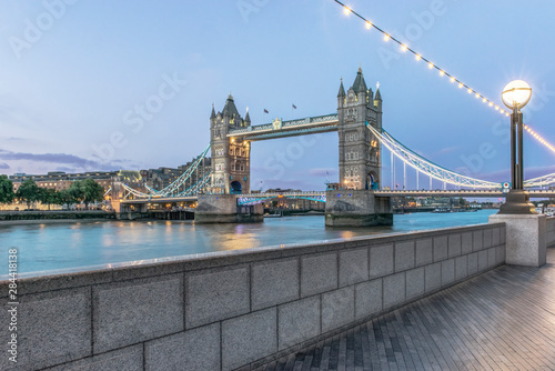 UK, London. Twilight Tower Bridge