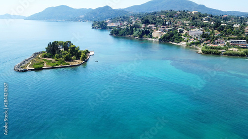Foto auf Gartenposter Blau Jeans Aerial drone bird's eye view photo of iconic small island of Pontikonisi or Mouse island in area of Kanoni, Corfu island, Ionian, Greece